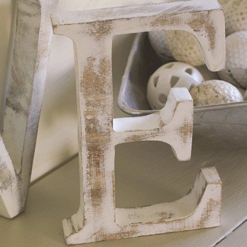 Shabby Chic Vintage Large Whitewash Wood Block Freestanding A-Z Alphabet Letters