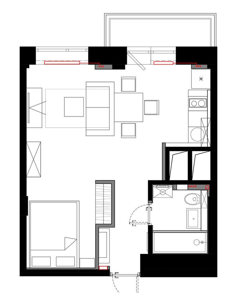 Планировка квартиры-студии 33 кв. м.