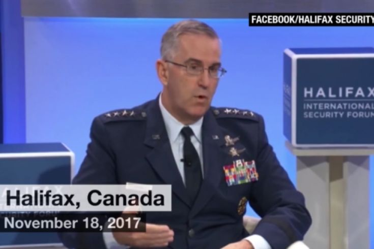 """Air Force General John Hyten, commander of U.S. Strategic Command (STRATCOM), on Saturday at a national security conference in Canada said there are circumstances under which he would resist obeying a nuclear strike directive from President Trump. """"I provide advice to the president,"""" Hyten replied to a question about a nuclear order scenario. """"He'll tell me what to do, and if it's illegal, guess what's going to happen? I'm gonna say, 'Mr. President, that'..."""