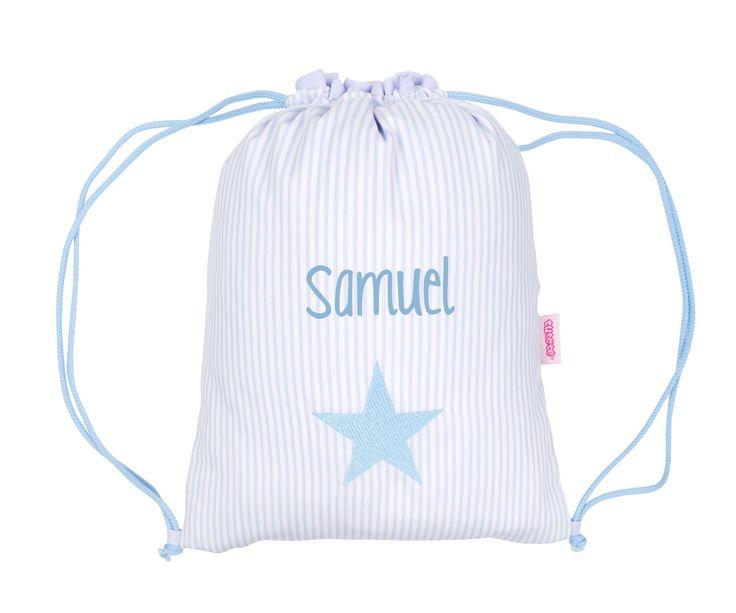 Mochila Saco Personalizada Rayas Azul con Estrella