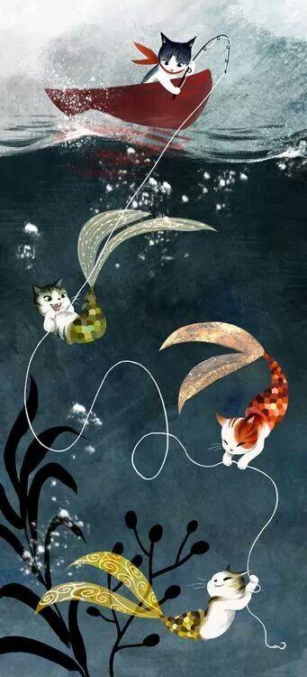 Wee little cat mermaids :) Mercats? Vivien Wu.