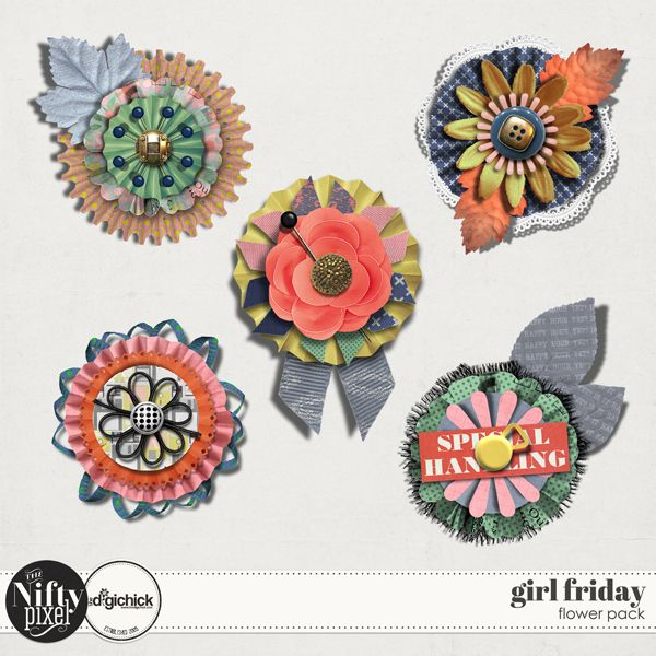 Girl Friday Stacked Flowers  These stacked and layered rosettes are handing for adding a little extra something to your pages. Each come with a shadowed version for a touch more realism.  PACK INCLUDES:  5X Flowers. 5X Shadowed versions. All products are saved at 300ppi for optimum printing quality.