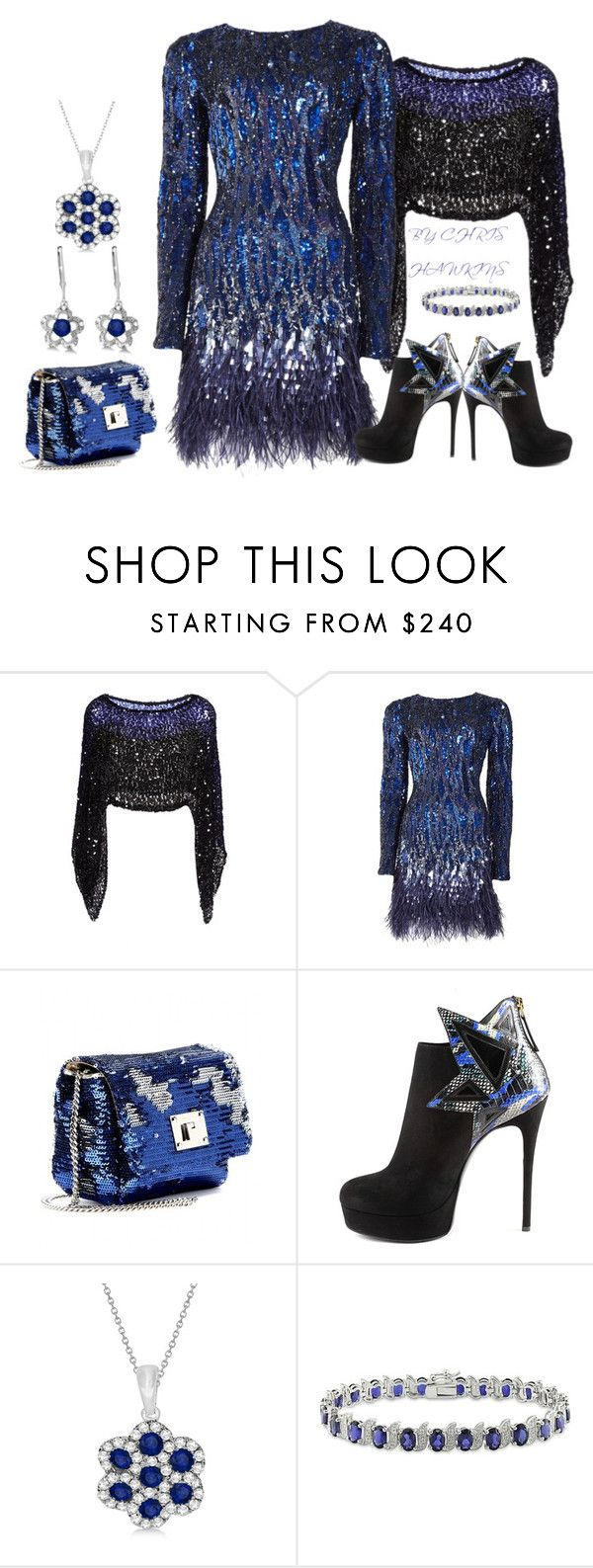 """SEQUINS , SAPPHIRES & STILETTOS"" by chris-hawkins ❤ liked on Polyvore featuring Sonia Rykiel, Matthew Williamson, Jimmy Choo, Gianmarco Lorenzi, Allurez and Amour"