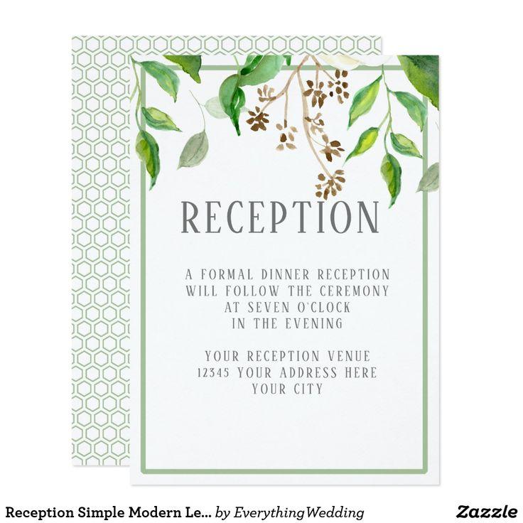 Reception Simple Modern Leaves Greenery Hexagon Card