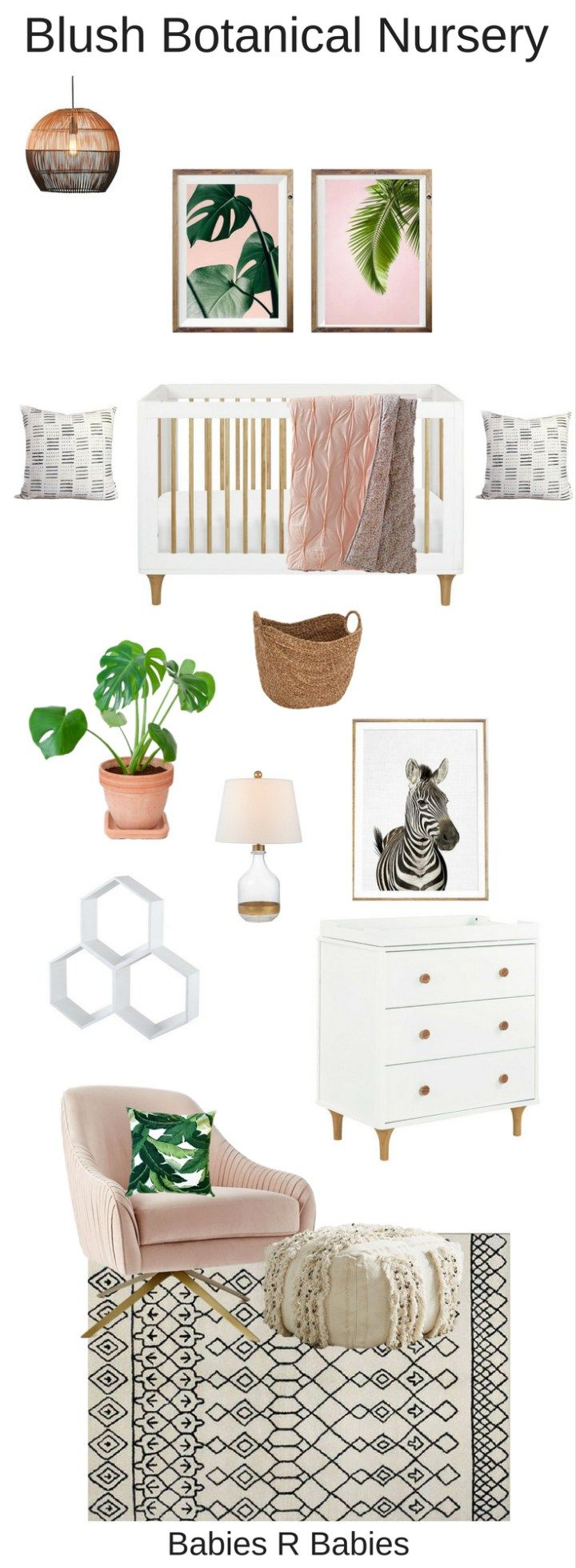 Blush Botanical Nursery with Tropical Prints and natural textures.
