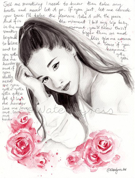 Watercolor Portrait of Ariana Grande with Love Me by WaterLyrics