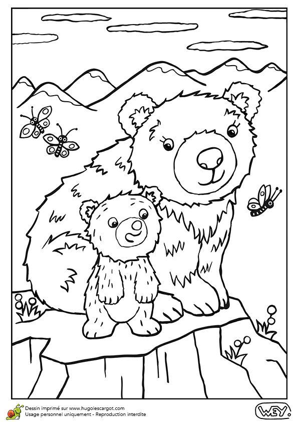 Dessin à colorier d'une maman ourse et de son ourson - Hugolescargot.com