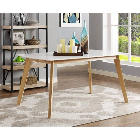 "Walker Edison 60"" Retro Modern Wood Dining Table, White"