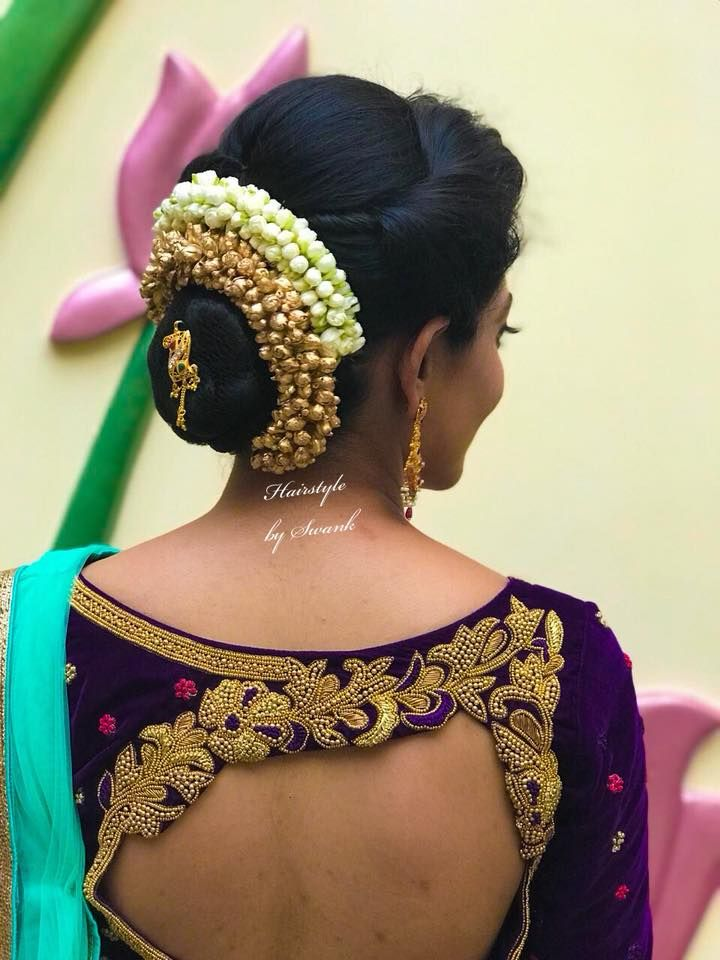 Gorgeous Bridal Hairstyle By Swank Engagement Hairstyle Bridal Hair Bridal Updos Saree Blouse Desi Bridal Hair Buns Indian Hairstyles Engagement Hairstyles