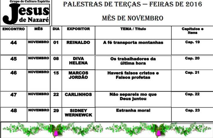 Calendário de Palestras Públicas de NOVEMBRO do GCEJN - Duque de Caxias - RJ - http://www.agendaespiritabrasil.com.br/2016/11/02/calendario-de-palestras-publicas-de-novembro-do-gcejn-duque-de-caxias-rj/