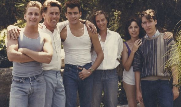Martin Sheen (flanked by his famous sons) and his family