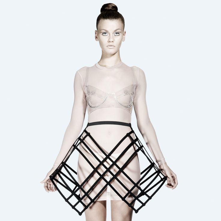 Architectural Fashion - 3D cage skirt with scaffolding-like grid structure & exaggerated silhouette - experimental fashion design // Chromat