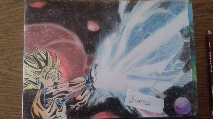 Goku draw on paper Bianca's art fb Mampower1 deviant