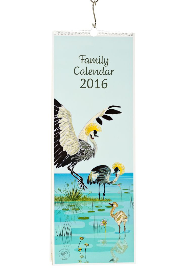 Family Calendar with 5 columns per month for busy households.  Each month is illustrated with an African animal family.