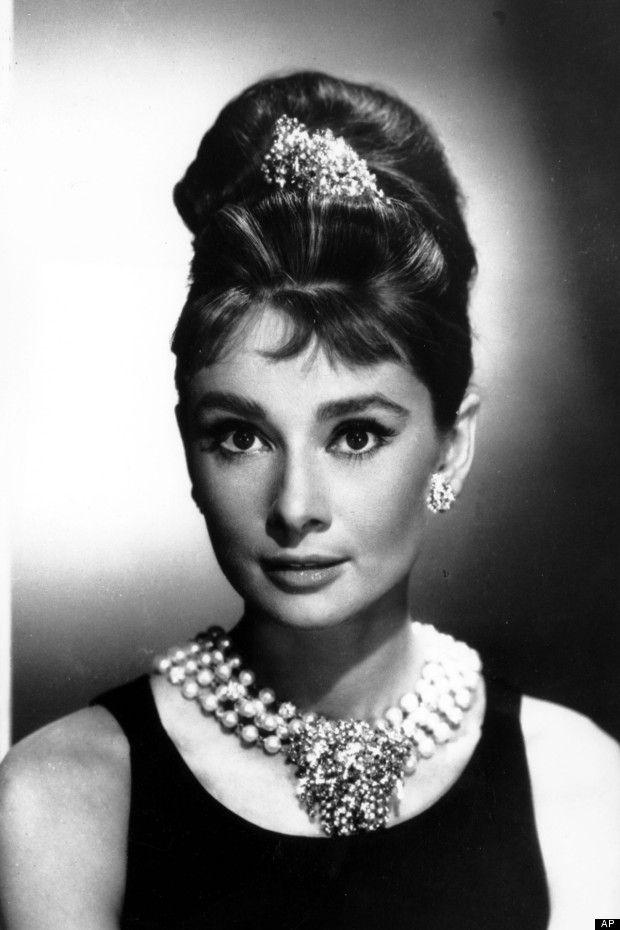 Audrey Hepburn in vintage beehive hairstyle and the 60s eyeliner flick
