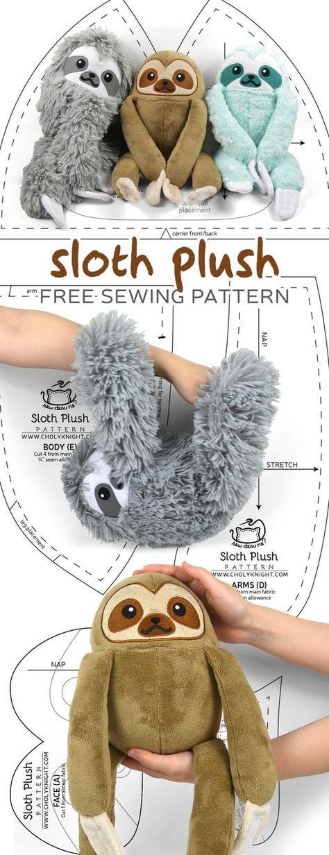 Adorable Sloth Plush – Free Sewing Pattern