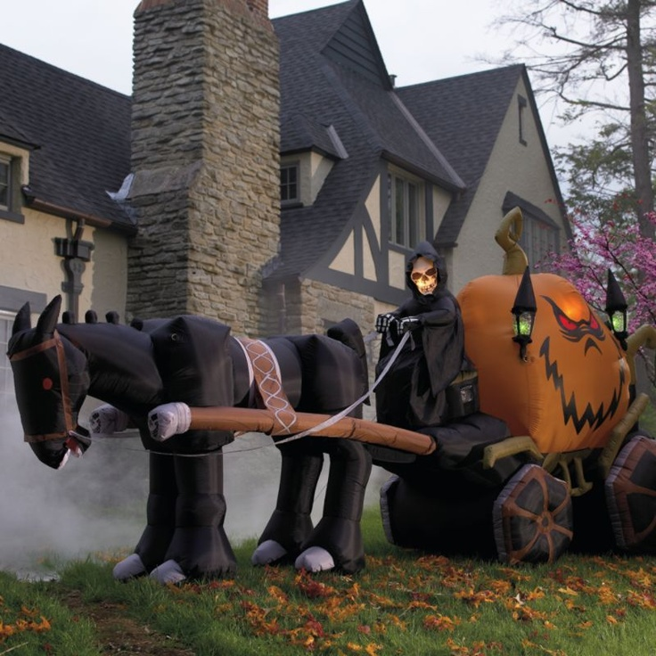 inflatable halloween grim reaper pumpkin carriage halloween decorations and decor grandin road - Blow Up Halloween Decorations