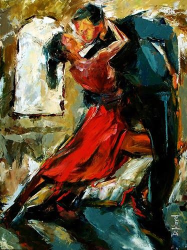 "Daily Painters Abstract Gallery: Tango Dancers Original Palette Knife Impressionism Music Dance Art ""Tango by The Window"" by Texas Artist Debra Hurd"