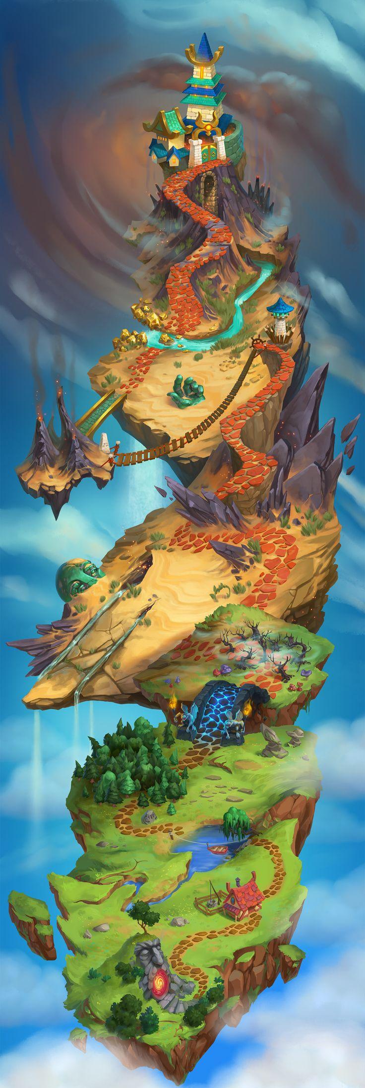 ArtStation - Floating islands map, Karine K