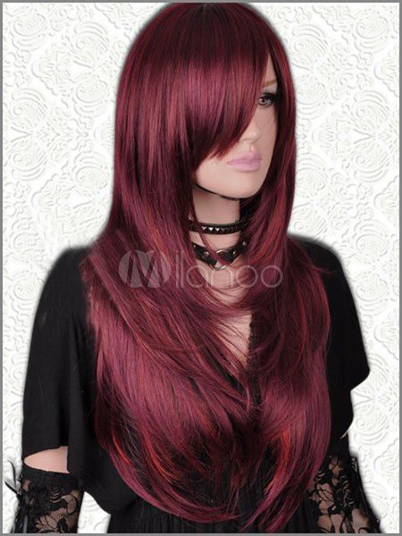 [$34.19 - 30%OFF] Long Straight Dark Red Mix Sheepskin Wig For Women