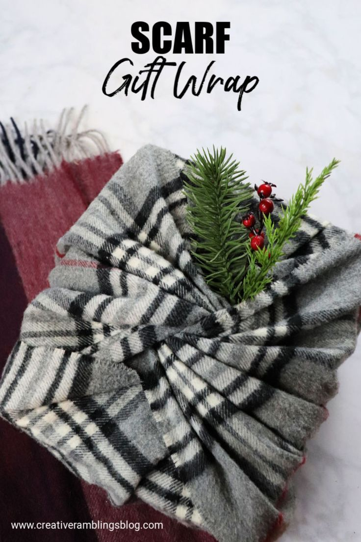 Scarf gift wrap. No waste gift wrap ideas for Christmas. Use a scarf to wrap gif…
