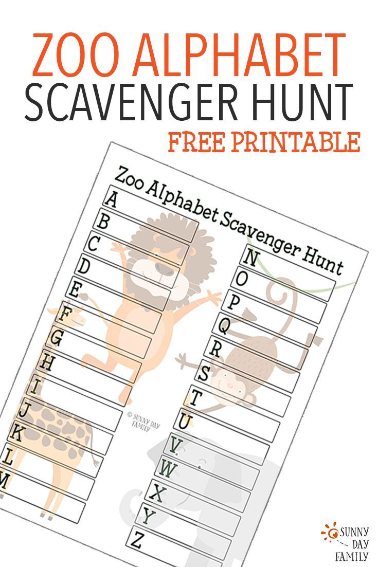 zoo alphabet scavenger hunt printable alphabet learning activities and free printable. Black Bedroom Furniture Sets. Home Design Ideas