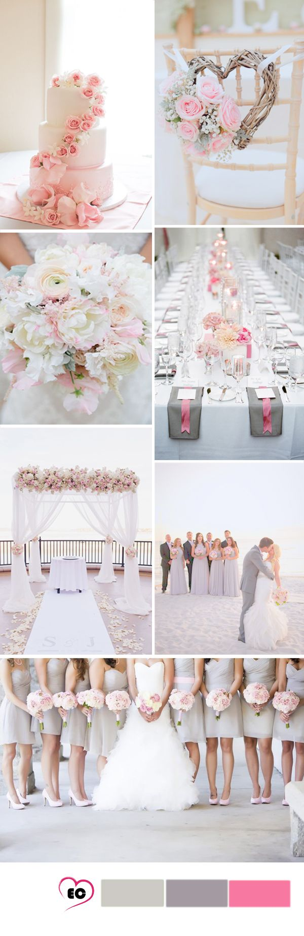grey and blush pink wedding idea