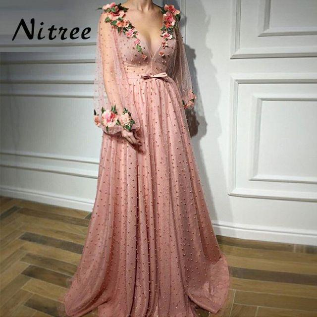 Aibye V Neck Formal Evening Dresses Dubai Turkish Arabic Prom Party Dress  For Weddings Moroccan Kaftan Abendkleider Gowns 2018 3f18ca29b781