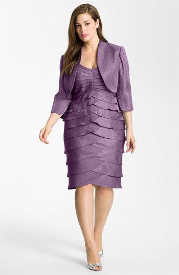 Adrianna Papell Evening Shutter Pleat Dress With Bolero