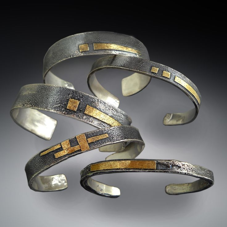 Sterling and 22K gold cuffs, reticulated with patina