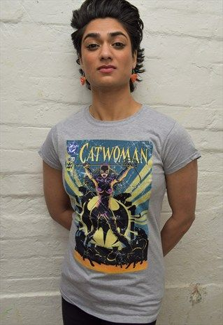 DC+Comics+Catwoman+Cover+55+Official+Ladies+T-shirt+Grey