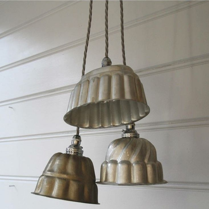 vintage kitchen items as light fixtures jelly mould