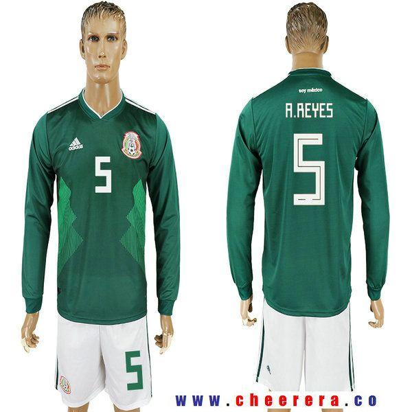 Mexico 5 A Reyes Home 2018 Fifa World Cup Long Sleeve Soccer Jersey Jersey Custom Jerseys Soccer Jersey