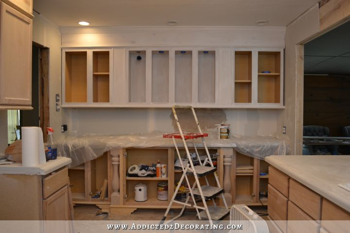 prepping unfinished oak cabinets for paint - 9