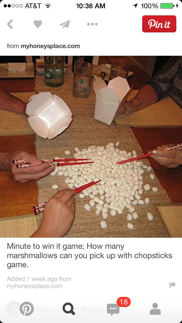 Fill your container with mini marshmallows using chopsticks in 60 seconds. The most in wins a prize.