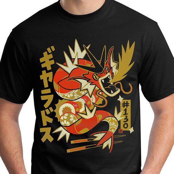 SHINY Gyarados Pokemon T-Shirt Deluxe Dragon Rolls