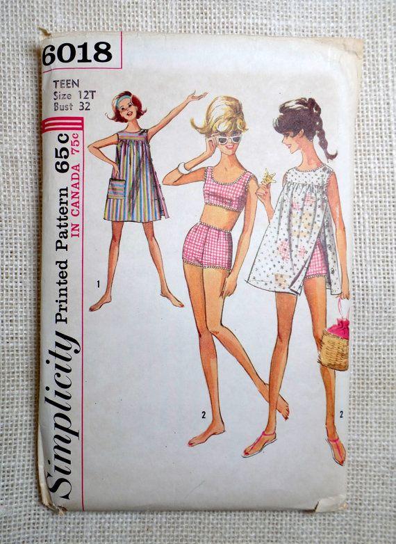 Vintage pattern Simplicity 6018 1960s boy shorts bikini two piece swim bathing suit smock coverup beach blanket bingo Gidget Bust 32
