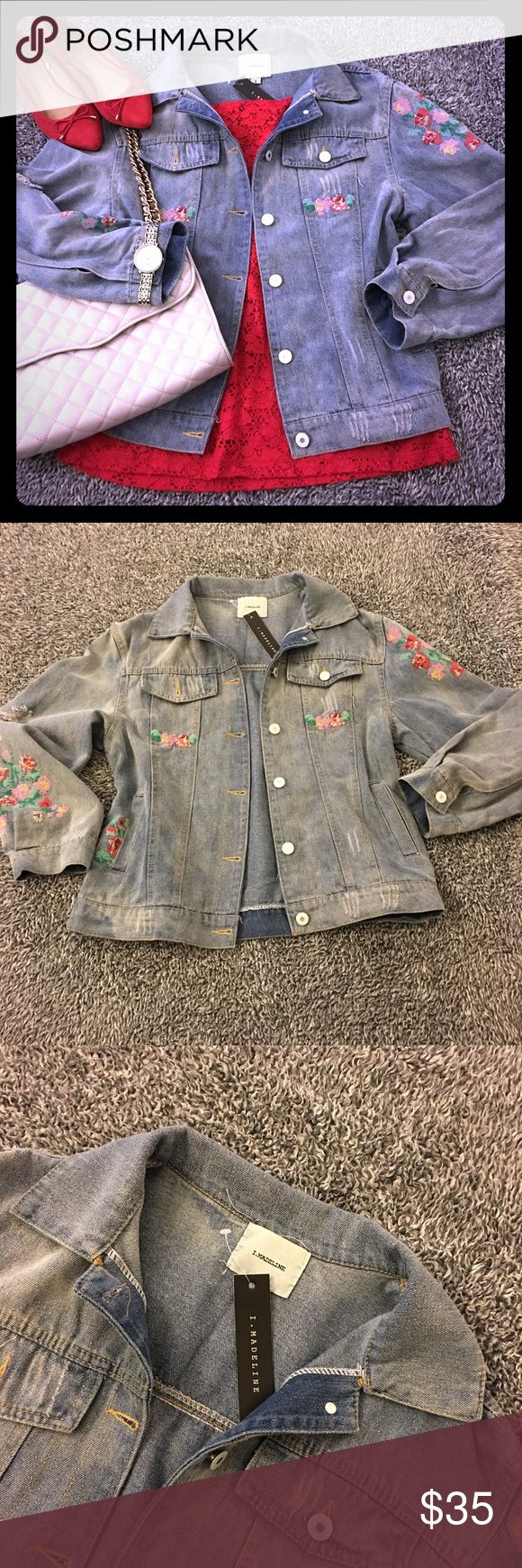 Denim jacket with floral embroidery - NWT! Such a cute jacket with feminine floral embroidery!! Also has some distressing to the fabric. Lovely wash, comfy fit and it's new! Excellent condition & SF! Tag still attached so would make a great gift! (I may keep if it's not snatched up for the right price-it's just so adorable!!) So versatile, cute & stylish! Please see pics for details, condition & measurements! Have questions? Ask me! Offers/bundles are welcomed but please no models/trades…