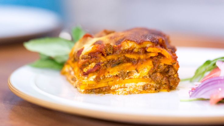 The key to this healthy lasagna is paper-thin slices of sweet potato