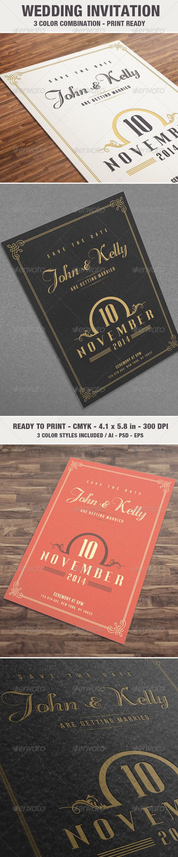 Elegant u0026 Vintage Wedding Invitation Card
