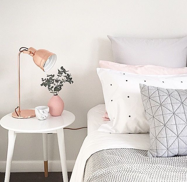 rose gold with gray and blush pink bedroom
