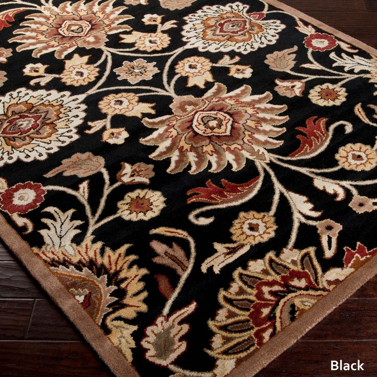 rug for living room size%0A Surya HandTufted Patchway Wool Rug x  Black   Size x