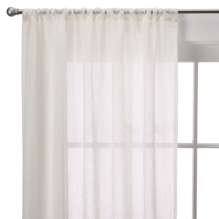 Room Essentials Crinkle Sheer Curtain Panel - Ivory (40x84)