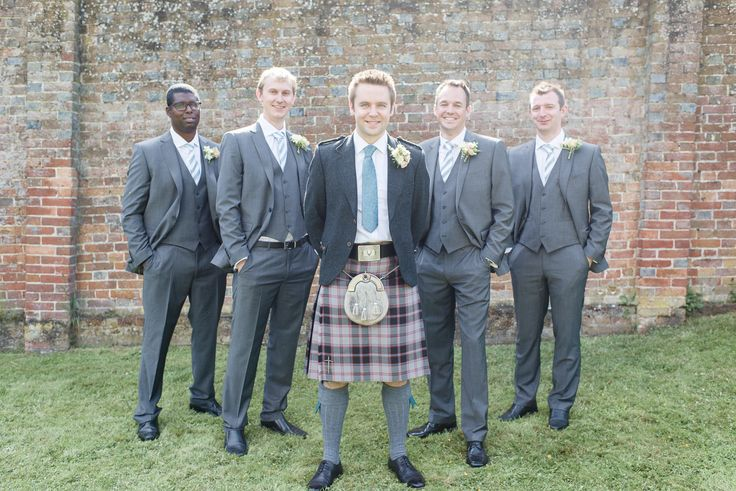 Grey 3 piece suits for the ushers and groom in a kilt!  Photography by Julie Michaelsen Photography www.juliemichaelsen.com #Juliemichaelsenphotography #fienartweddingphotography #groomfashion #ushers #weddingfashion