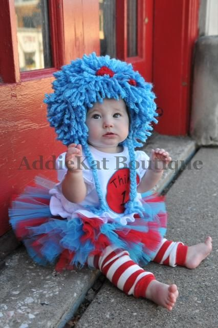 Dr. Seuss Thing 1 and Thing 2 Tutu Outfits - Perfect for Twins - Great Halloween Costumes or Birthday Outfits-Thing 1 and Thing 2 outfits, twins, matching brother and sister set, sibling, Halloween costumes