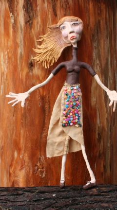 """Meet Dolly ooak art doll made by hand out of Polymer Clay,naturally dyed textiles art for """"The Other-Side presents That Wall"""".by Laura Balducci"""