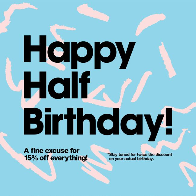 American Apparel anniversary email. GIF Subject Line: Happy Half Birthday from American Apparel.