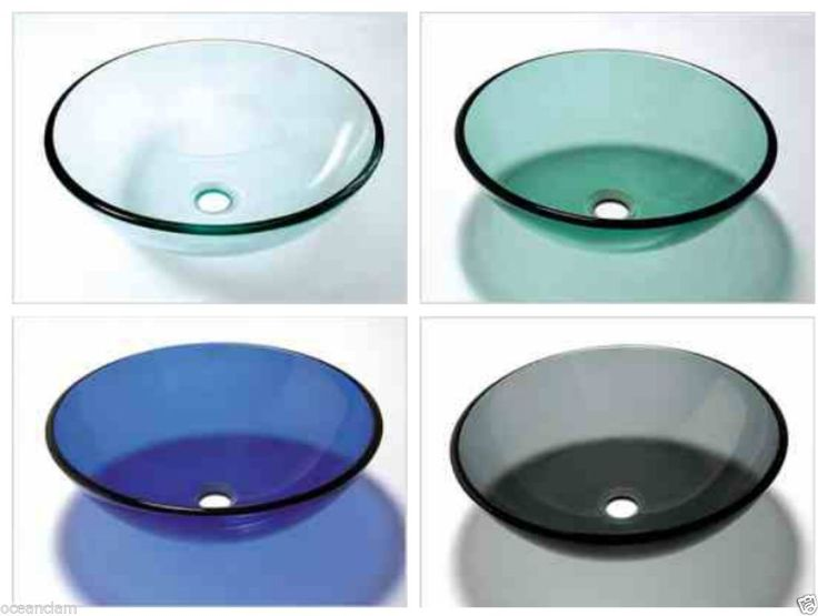 Glass Basin Sink Wash Bowl Green Black Blue Clear Bathroom Cloakroom  Countertop