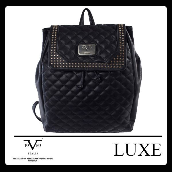Quilted Backpack Colors: Violet, Black and Sand