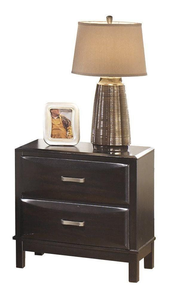 ashley kira two drawer night stand in almost black read more rh pinterest es